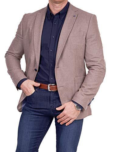 Unbekannt Herren Sakko Tweed Look Schurwolle/Polyester klassisch Reverskragen Blazer Zweiknopf Jackett Anzug Slim Fit bequem, Größe 52, beige Polyester Tweed