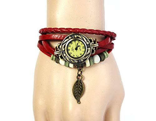 Uhren Damen Klassisch Uhr Armband Weben Wrap Sportuhr Quarz Leder Blatt Perlen Armbanduhren Lederarmband Uhren,ABsoar