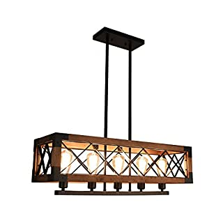 OYI Kitchen Island Lighting Wooden Chandelier 5-Light Pendant Light Fixture E27 Light Socket Rectangular Cage Frame for Kitchen Dining Room Restaurant Bar