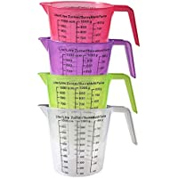 Kurtzy Set 4 Jarras Medidoras Plástico Libre de BPA 13cm Asa en Ángulo Jarras Apilables con Gramos y Centímetros Cúbicos - Transparente, Verde, Rosa y Púrpura - Aptas para Lavavajillas