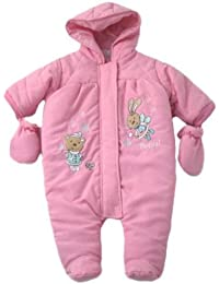 Gorgeous Baby Padded Snowsuit With Rabbit & Bear Applique Motif On Front. Includes Detachable Mittens - Dark Pink Age 6-9 Months