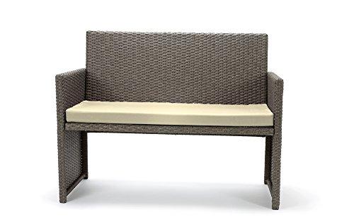 Rattan4Life Sitzgruppe Neapel, 4-teilig Deluxe Polyrattan Gartenmöbel Set, Sofa / Lounge / Gartengarnitur / Kissenbezüge, Rattan grau / braun, Bezug beige - 4