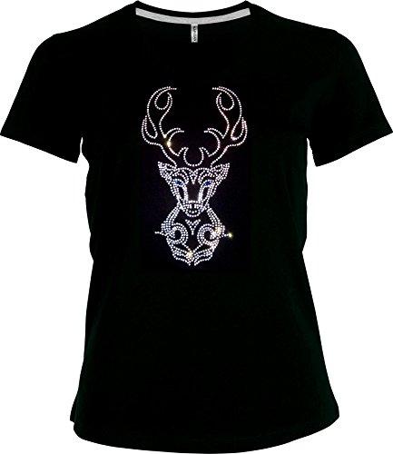 elegantes Shirt Oktoberfest Damen T-Shirt Wiesn grosser Hirsch Strass kristall V-Ausschnitt, T-Shirt, Grösse XL, schwarz - Kristall V-ausschnitt T-shirt
