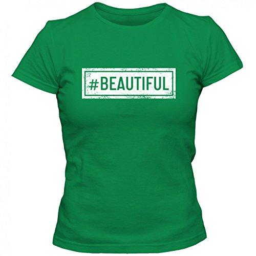 #beautiful T-Shirt | Sprüche-Shirt | #hashtag | Statement | Frauen | Shirt © Shirt Happenz Hellgrün (Kelly Green L191)