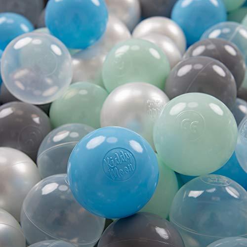 KiddyMoon 700 ∅ 7Cm Kinder Bälle Spielbälle Für Bällebad Baby Plastikbälle Made In EU, Perle/Grau/Transparent/Baby Blau/Minze -