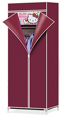 Evana 2.3 Feet Creative Wine Red Maroon Cabinet,Easy Installation Folding Wardrobe Cupboard Almirah Foldable Storage Rack Collapsible Cloths Organizer  available at amazon for Rs.899
