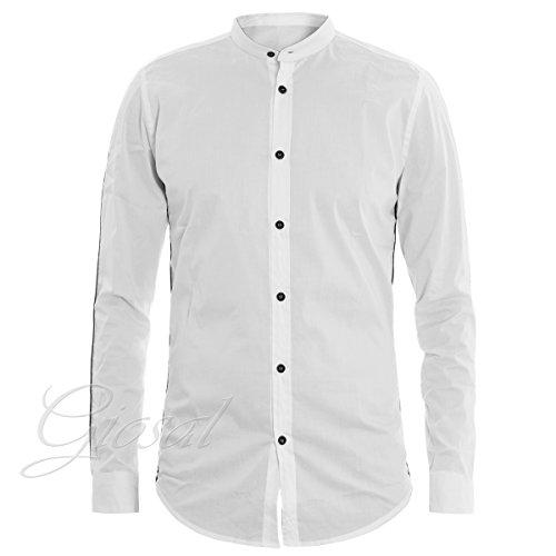 Giosal camicia uomo mod collo coreano bianca bottoni a contrasto righe c1314a-xl