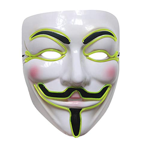 Besttse Halloween DIY Vendetta LED Maske leuchtend Cosplay Maskenade Kostüm Party Zubehör app. 22cmx17cm/8.66inx6.69in Luminous Green