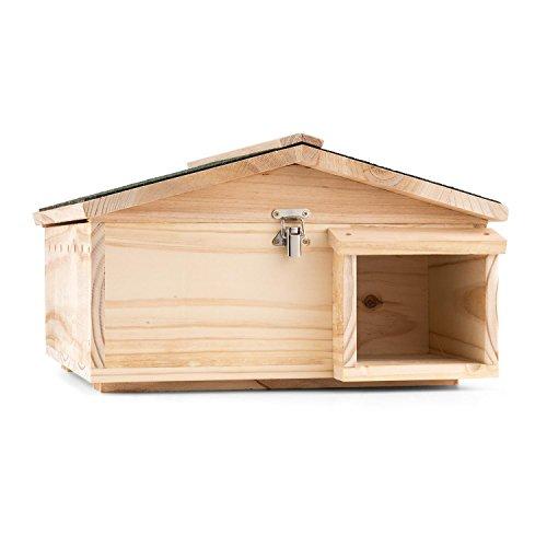 oneConcept Stachelburg • Igelhaus • Futterhaus • Igelhütte • Igelhotel • großer Labyrintheingang • Massivholz • fertig montiert • aufklappbares Dach • sauber geschliffen und verschraubt • hellbraun