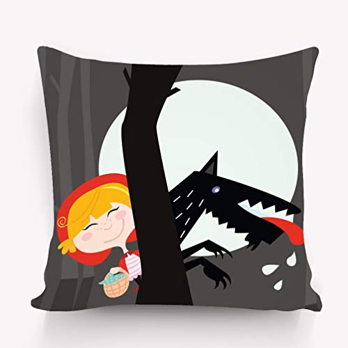 ge Throw Pillow Cushion Cover red Riding Hood Black Wolf Good Variegated Decorative Square Accent Pillow Case 18 X 18 inches ()