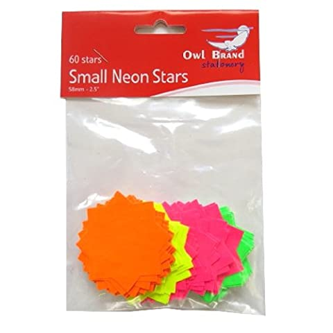 Neon Stars Pricing Cards - Pack of 60 - Mixed Colours - Green, Yellow, Pink, Orange - Size 58mm x 58mm