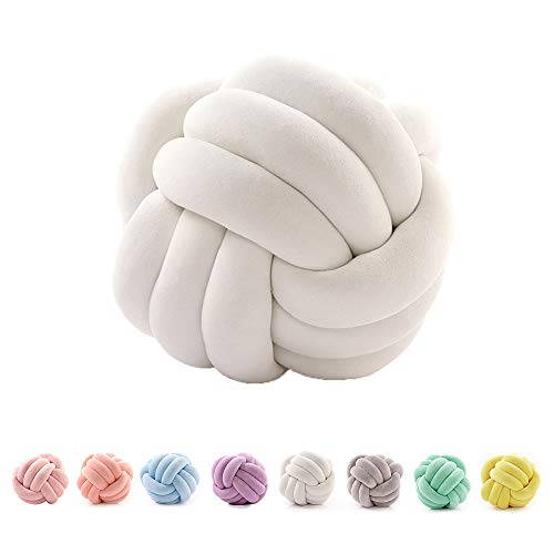 SINBROL Knot - Cuscino Decorativo per Divano, Stile Nordico, Stile Creativo, con Nodi, alla Moda, Bianco, 27cm
