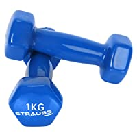 STRAUSS Unisex Adult ST-1517 Vinyl Dumbbell - Blue, 2 x 1 kg