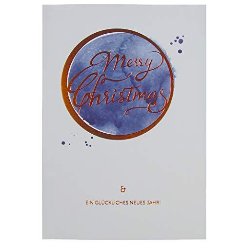 Weihnachtskarten im 10er Set - Weihnachtskarten 'Christbaumkugel' - Aquarellzeichnung und Kupferfolie - zum einfachen Selbstbedrucken