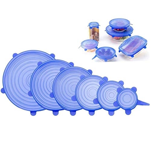 Jjlng silicone stretch lids, fda silicone cover keeping food fresh fit various sizes and shapes of containers 6pcs-pack (blu)