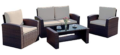 Rattan Outdoor Garden Patio/Conservatory 4 Seater Sofa and Armchair set with Cushions and Coffee Table. Grey Brown Black. INCLUDES OUTDOOR COVER (Dark Brown with Light Cushions, Algarve 2+1+1)