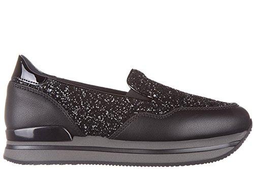Hogan slip on donna in pelle sneakers nuove originali h222 pantofola nero EU 40 HXW2220T670EJKB999