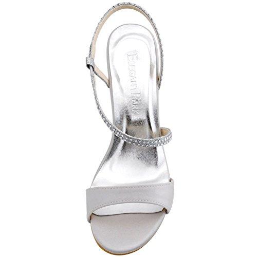 ElegantPark HP1531 Femme Diamant Bride Arriere Aiguille Stiletto Sandales Argent