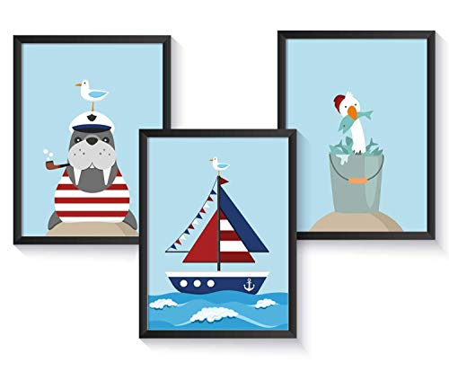 Kinderzimmer Poster maritim - A4 Kinderposter - 3er Set - ohne Bilderrahmen