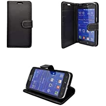 Samsung GALAXY PRIME CORE BLACK PLAIN PU LEATHER WALLET BOOK FLIP CASE COVER AND FREE SCREEN PROTECTOR FROM GADGET BOXX