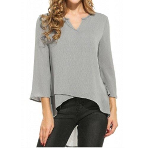 ASCHOEN Damen Casual Chiffon Bluse Hemd Oberteil Top T-shirt unregelmäßig Saum Grau