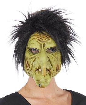 (Hexenmaske grün Schrumpelhexe Kostüm Zubehör Hexe Fasching Halloween Latex)