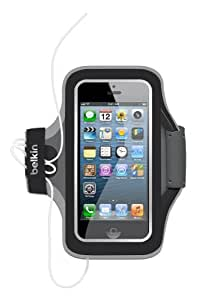 Belkin F8W299 Slim-Fit Plus Fitness Armband with Card Pocket and Cord Management for iPhone SE/5 and 5s - Black