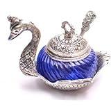 Oxidized White Silver Metal Single Duck Blue Bowl Handmade Handicraft For Home Decor Gift Item