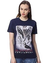 Wolfpack Owl Printed Round Neck Half Sleeves 100% Cotton Navy Blue Girls/Women T-Shirt for Bird Lovers