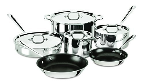 All-Clad 401488 NSR2-R Stainless Steel Tri-Ply Bonded PFOA Free Nonstick Cookware Set, 10-Piece, Silver by All-Clad - All Clad 10