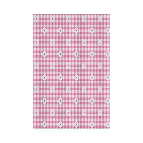 gthytjhv Light Pink Checkered Striped Tartan Background with Daisy Petals Pastel Style Print Decorative Baby Pink White House Garden Family Event Decoration