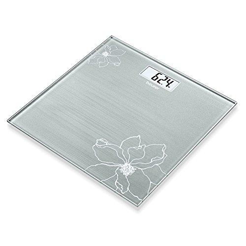 Beurer GS 10 - Báscula de baño, color grisáceo con detalle de flor con efecto purpurina