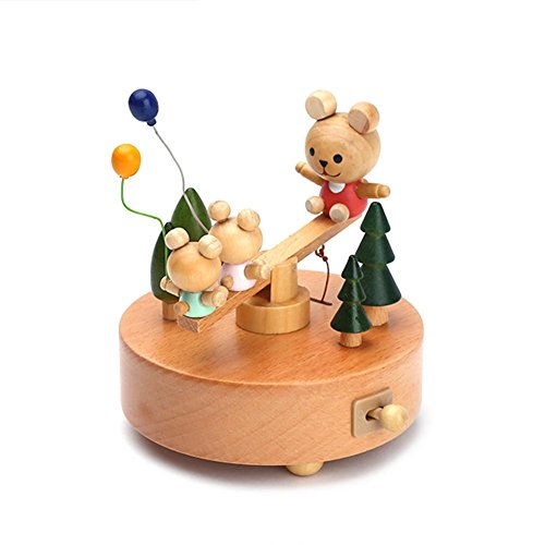 Caja de música de madera maciza para decoración de juguetes, regalo de cumpleaños, Navidad, regalo de cumpleaños para niños y bebés, innovador diseño de Ferris y torta de cumpleaños