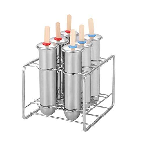 Stampi per ghiaccioli in acciaio inossidabile, stampi riutilizzabili per ghiacciolo con cremagliera, produttore di stampi per gelato fai-da-te eco-sicuro per ghiaccio fatto in casa (set di 6)