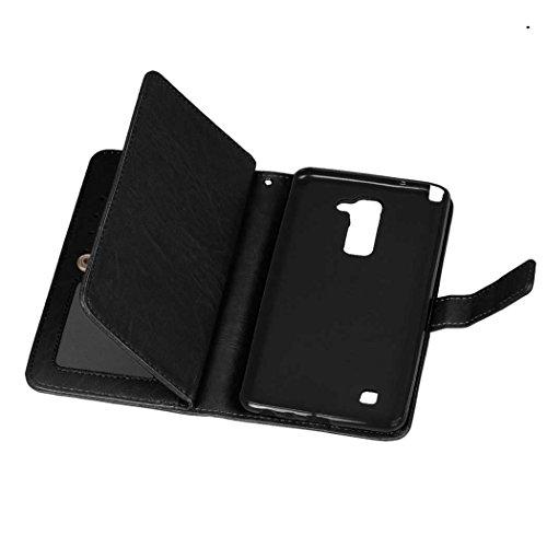 Flip LG STYLUS 2 LS775 Fall Folio Case Solid Farbe Premium Synthetik-Leder-Kasten-Standplatz-Mappen-Kasten-Kasten mit 9 Karten-Bargeld-Slots für LG STYLUS 2 LS775 ( Color : Red , Size : LG STYLUS 2 LS Black