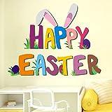 EERTX Adesivo Da Parete Coniglietto Di Pasqua Adesivo Da Parete In Vinile Adesivo Da Parete In PVC Adesivo Da Parete Per Casa (55cm x 45cm, Multicolore)