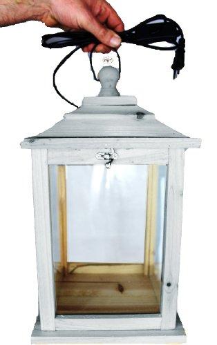 Holzlaterne, als Glasvitrine mit Beleuchtung, mit Glas und Holz - Rahmen, KL-OFOS-HELLGRAU aus Holz hell grau weiss weiß amazon silbergrau