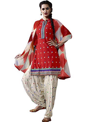 Shopper Pick Red and White Embroidery work Punjabi Patiala Salwar Suit Dress Material