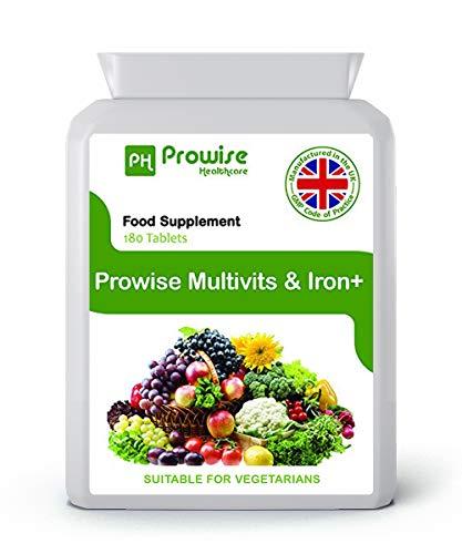 Compresse multivitaminiche e di ferro 180 (dose di 6 mesi) - Supplemento multivitaminico giornaliero al giorno - Prodotto nel Regno Unito con qualità garantita Gmp - Adatto ai vegetariani di Prowise Healthcare