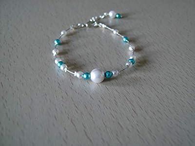 Bracelet Blanc (dispo Ivoire Crème) Bleu Turquoise pr robe de Mariée Mariage Soirée Cérémonie Cocktail original perles style culture Original pas cher petit prix