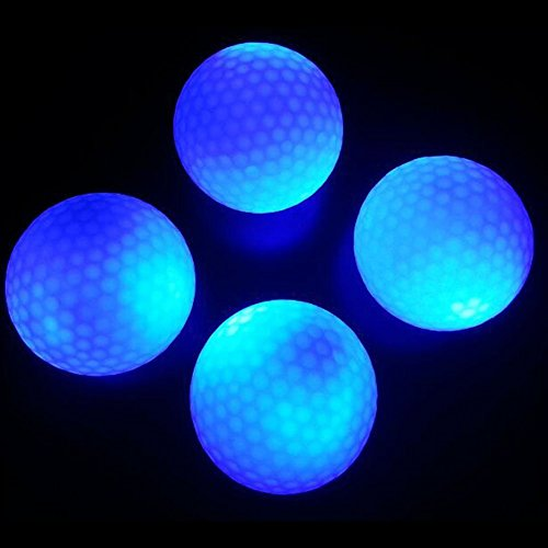 crestgolf blinkende Leuchtender Golfball-Blau, Night Glow Flash-Light LED Golf Ball, 4Stück