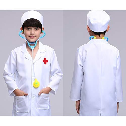 Zygeo - Kinder Doktor Cosplay Kostüme Baby Krankenschwester Uniformen Rollenspiele Halloween-Party-Fancy Mädchen Cosplay Doktor Jackett [10T Boy Coat & Hat & Spielzeug]