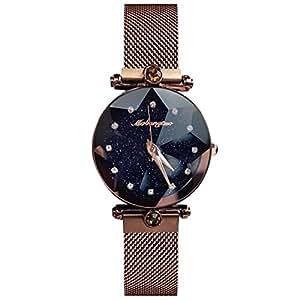 Quarzuhr Fashion Damenwomen Armbanduhren Himmel Simulierter Mesh Diamant Sternenklarer Armbanduhr Armband Analog Magnetband Rorios Dial gY7vf6by