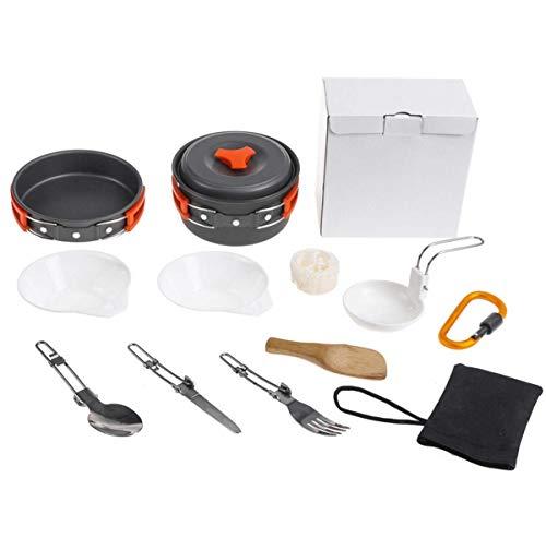 WYDML Tragbares Camping Cookware Set für 1-2 Personen, Non Stick Pot Pan Bowls Mess Kit Mess-kit 1 Person