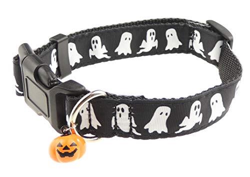 Glamour Girlz Hundehalsband, Halloween, Ghost Kürbis Bedruckt, Nylon, verstellbar, Schwarz (Für Ideen Halloween-kürbisse)