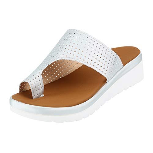 Mitlfuny Damen Sommer Sandalen Bohemian Flach Sandaletten Sommer Strand Schuhe,Frauen Thick Bottomed Sandal Schuhe Keilabsatz Sandalen Clip Toe Sommer Strand Schuhe