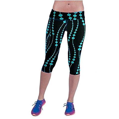 Fami Pantalon taille haute Fitness Yoga Sport, imprimé extensible Cropped Leggings (Size:M, Bleu)