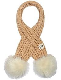 f218f00850 Aran Traditions Kids Oatmeal Beige Cable Knit Faux Fur Double Pom Pom Scarf  3-6