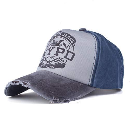 7 1/4 Ausgestattet Cap Hut (QQYZ Mütze Baseball Cap Ausgestattet Hut Casual Cap Gorras 5 Panel Hip Hop Snapback Hüte Wash Cap Für Männer Frauen Unisex 56 bis 60cm Kasse und dunkelblau)