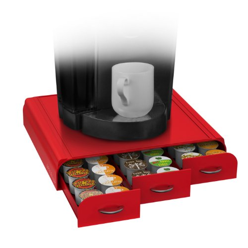 ufbewahrungsbox für Kaffeekapseln von Mind Reader, für 36 Dolce Gusto-, Keurig K-Cup-, Verismo- und CBTL-Kapseln, schwarz Für K-Cup, CBTL, Verismo, Dolce Gusto keine rot ()